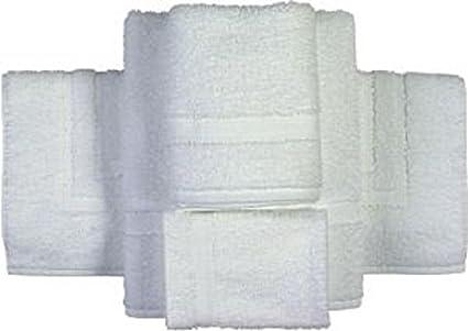 18 piezas blanco Polly/mezcla de algodón juego de toallas (6) 22 x