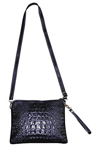 Croco Embossed Leather (Tous-Jours Design Women's Croco-Embossed Leather Cross Body Bag Shoulder Bag in Elegant Colors (Black))