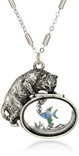 1928 Jewelry Women's Pewter Cat w/Blue Enamel Fish in Glass Fishbowl 30 inch Necklace, Silver, One Size