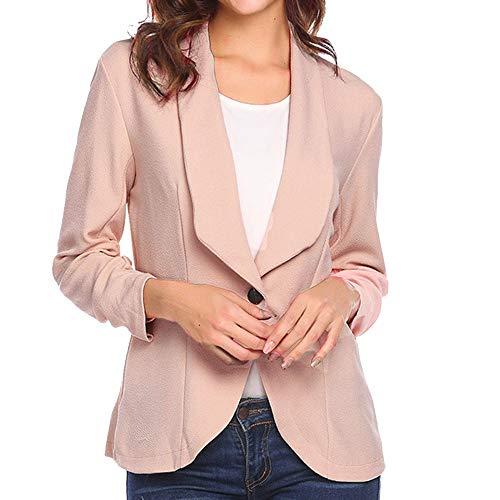 (HHei_K Women Ladies Fashion Solid Three Quarter Sleeve Lapel Blazer Jacket Slim Suit Coat)