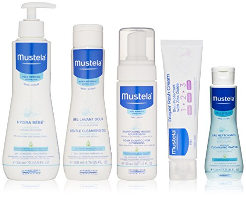 Mustela Newborn Arrival Gift Set, Baby Bathtime & Skin Care Essentials, 5 Items