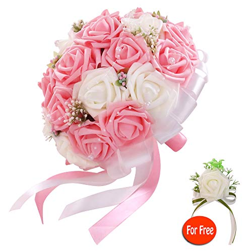 six-qu Rose Wedding Bouquet,Artificial Foam Bridal Bouquet and Groom Brooch with Pearl Ribbon Perfit for Romantic Wedding (White-Pink)