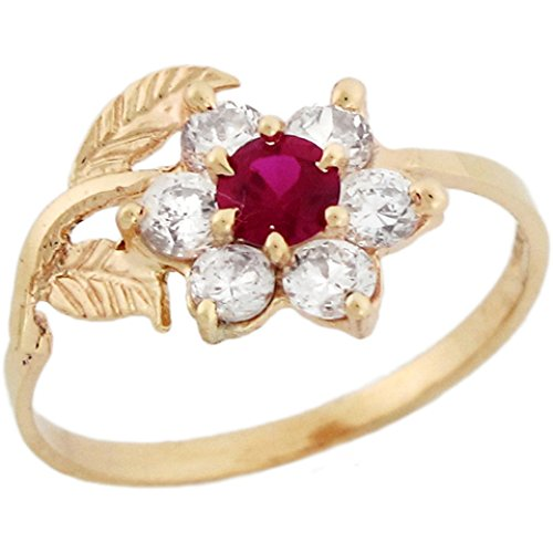 10k Yellow Real Gold White Red CZ Fancy Hook Floral Womens Ring (Yellow Ring Gold Fancy)