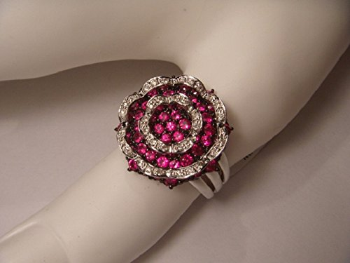 Red Ring Sapphire Gold (Gorgeous 14K White Gold Red Sapphire Diamond Floral Ring)