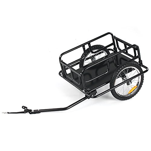 IKAYAA Folding Bike Cargo Trailer Hand Wagon Bicycle Luggage Trailer Storage Cart Carrier with Detachable Metal Frame Hitch by IKAYAA (Image #2)
