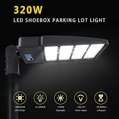 LED Parking Lot Lights, LED Shoebox Pole Lights Fixture 5700K, IP65, AC 100-277V, UL DLC Listed