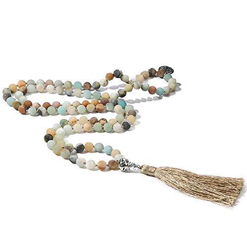BALIBALI 108 Mala Beads Necklace Semi-Precious Gem Stones Meditation Necklace 108 Hand Knotted Japa Mala Beaded Tassel Necklace with Tree of Life Pendant