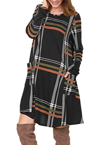 (Poulax Women's Casual Color Block Long Sleeve Loose Basic Swing Pocket Shift Dress in Plaid,A-Black,L)