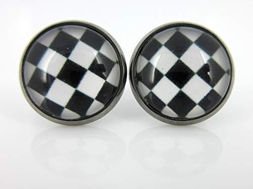 Hematite-tone Black and White Checkerboard Print Stud Earrings 12mm