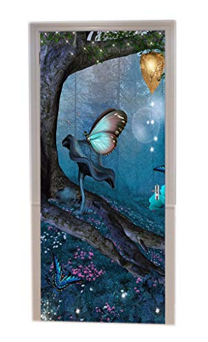A.Monamour Old Tree Fairy Butterfly Mysterious Blue Forest Halloween Holiday Themed Print Vinyl Room Door Decals Wallpaper Wall Murals Removable Door Stickers Posters DIY Art Decors for Home