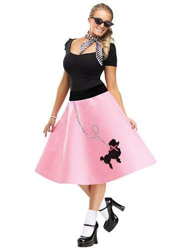 (FunWorld Poodle Skirt, Pink/Black, Small/Medium 2-8 Costume)