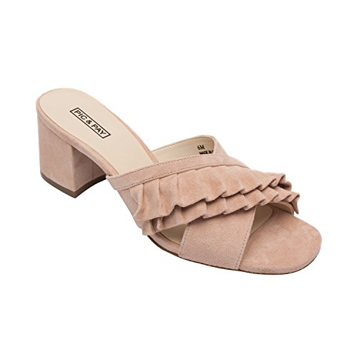 PIC/PAY Ruby | Women's Ruffled Sandal Suede Slip-On Comfortable Mid-Height Block Heel Blush Suede 8.5M