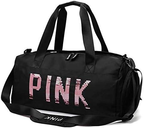 大容量トラベルジムバッグ女性の多機能アウトドアゴルフスポーツバッグ防水ダッフルバッグ独立した靴位置の複数の収納袋のデザイン HMMSP (Color : Black)