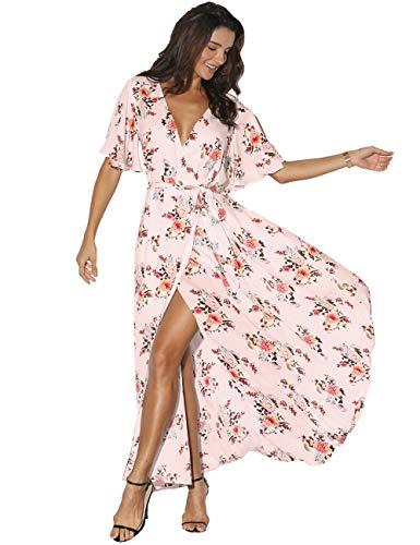 Azalosie Women Wrap Maxi Dress Floral Short Sleeve Flowy Slit Tie Waist Summer Beach Party Wedding Pink-red (Floral Short Sleeve Tie)