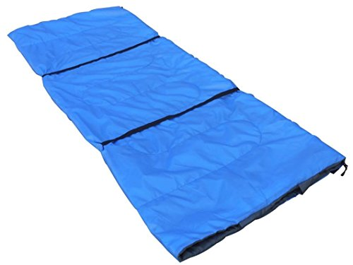 "OutdoorsmanLab Sleeping Bag - 73"" x 29.5"" Lightweight Sleeping Bag with Built-in Pillowcase - Compact Packable Bags, Compression Sack for 30 Degree, Backpacking, Hiking, Adults, Kids, Camping (Blue)"