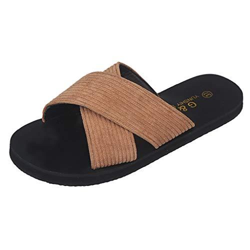 Respctful✿Footbed Sandals for Women Cross Strap Platform Slip On Flat Sandals Slipper Summer Beach Flats Shoes Brown