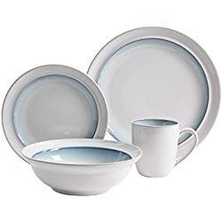 Gibson Elite 114307.16RM Lawson 16 Piece Reactive Dinnerware Set, White/Teal