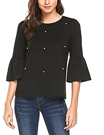 Mofavor Women's O-Neck Flare Sleeve Elegant Beading Casual Blouse Top