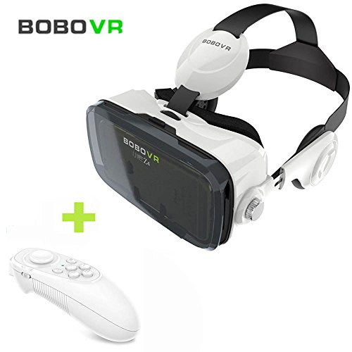 """VR Headset, BOBOVR Z4 3D Virtual Reality Glasses, Xiaozhai VR BOX with Headphone, + Bluetooth Remote Controller, for 4.7-6.2"""" SmartPhones, Caidishi (White Z4)"""