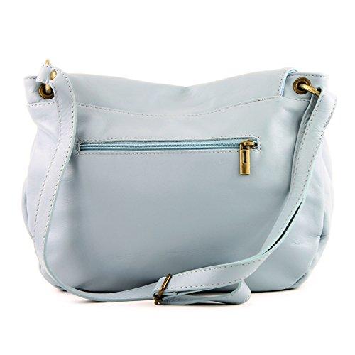 de grande Ledertasche Handtasche Blue Medio modamoda Umhängetasche Damentasche Ledertasche Schultertasche ital Nappaleder Ice T40 dHZWqP