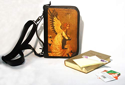 Bible Cover - Bible/Book Zippered Leather/Fabric Case DLX with Angel Image, Shoulder Strap and Wallet Organizer Inside (12 x 9 x 2) ()