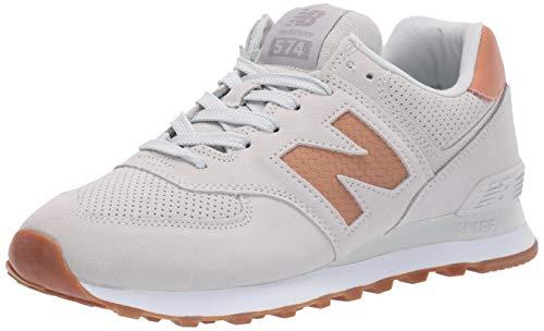 New Balance Women's Iconic 574 V2 Sneaker, White/Veg TAN, 7.5 N US