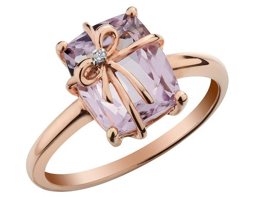 Pink Amethyst Ring with Diamond 2.5 Carat (ctw) in 10K Rose Pink Gold from Gem And Harmony