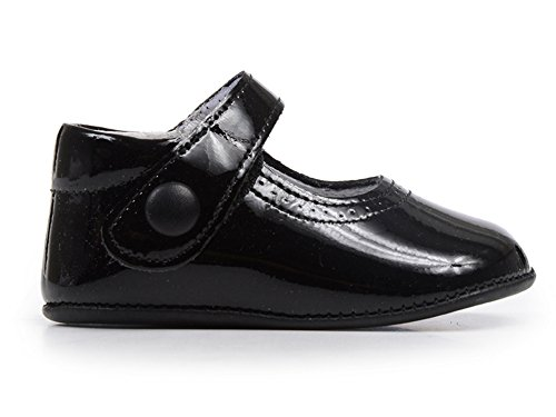 Childrenchic My First Leather Mary Janes - Baby Shoes for Girls (Black Patent, 19 M EU/3.5-4 M US Toddler)