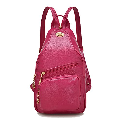 QPALZM Mode Süß Lady Multifunktions Dual Schultern Chest Pack Wild Klassik Handtaschen Messenger Bag,Rose