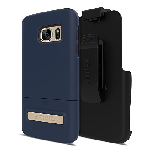 Seidio SURFACE with Metal Kickstand Case & Holster Combo for Samsung Galaxy S7 - Non-Retail Packaging - Midnight Blue/Chocolate Brown
