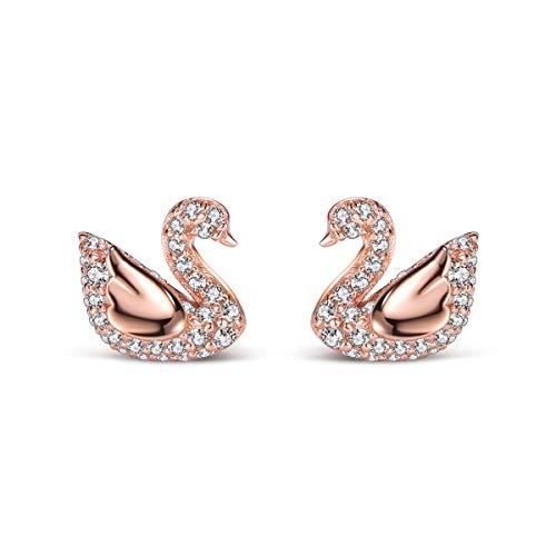 T400 925 Sterling Silver Rosegold Swan Jewelry Set Pendant Necklace Stud Earrings and Link Bracelet Cubic Zirconia from Swarovski Women Gift