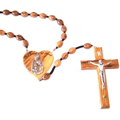 Olive Wood Wall Rosary with Certificate and Gift Box.