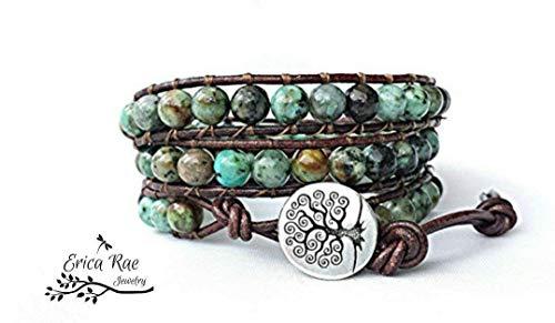 Bodhi African Turquoise gemstone leather wrap tree of life bracelet