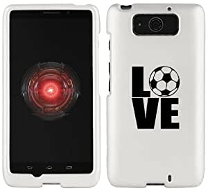 Motorola Droid MAXX XT1080M Snap On 2 Piece Rubber Hard Case Cover Love Soccer (White)