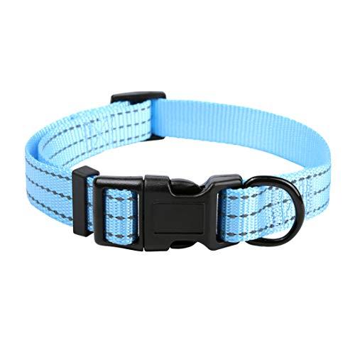 Mile High Life Dog Collar | Nylon with Reflective Three 3M Straps | Sky Blue, X-Small Neck 9″-13″ -20 lb
