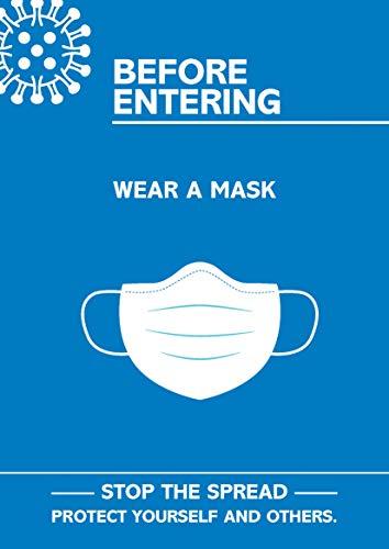 "SECO Coronavirus Essential Poster – ""Before Entering Wear Mask"", A3, Blau und Weiß"