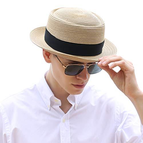 Deevoov Men's Straw Pork Pie Hats Short Brim Fedora Jazz Summer Sun - Pork Straw