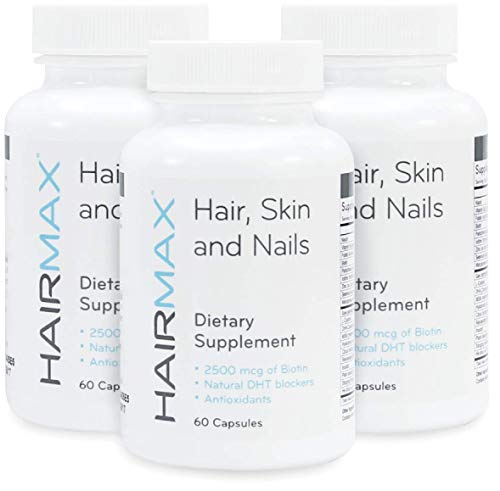 HairMax for Hair, Skin and Nails Dietary Supplement (3 Bottles) Contains 2500mcg Biotin, DHT Blockers, MSM and Antioxidants.