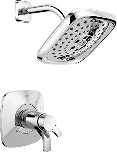 Delta Faucet Tesla 17 Series Dual-Function Shower Trim Kit with Three-Spray Touch-Clean H2Okinetic Shower Head, Chrome T17252 (Valve Not Included)
