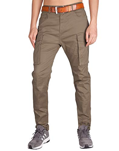 ITALY MORN Men's Chino Cargo Stretch Casual Pants 34 Timber Khaki