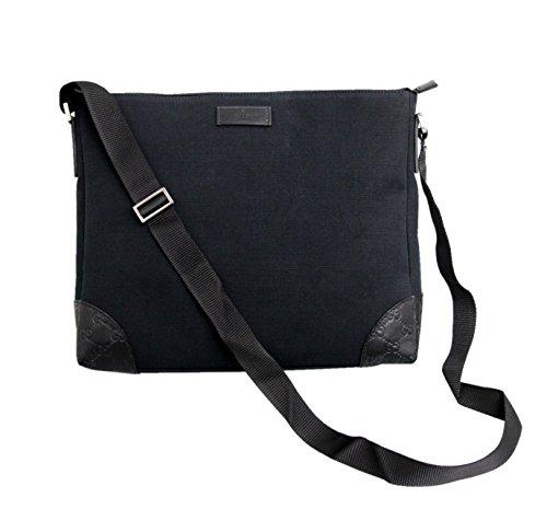 Gucci Black Canvas Guccissima Trim Sling Messenger Bag 257301
