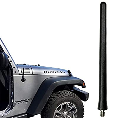 AntennaMastsRus - The Original 6 3/4 Inch is Compatible with Jeep Wrangler TJ - YJ (1987-2006) - Car Wash Proof Short Rubber Antenna - Internal Copper Coil - Premium Reception - German Engineered: Automotive