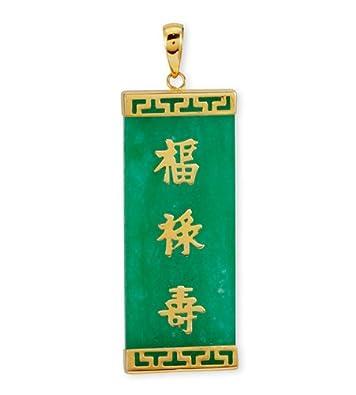 Amazon 14k Solid Gold Chinese Lucky Symbols Green Burma Jade