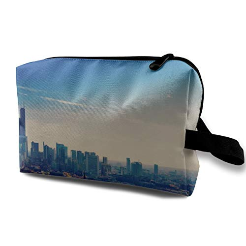 With Wristlet Cosmetic Bags Chicago City Travel Portable Makeup Bag Zipper Wallet Hangbag -