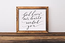Fine art print, God knew our hearts needed you, nursery art, quote, religious, hand lettered, lettering, calligraphy, baby, wedding, girl, boy, kids, childrens,