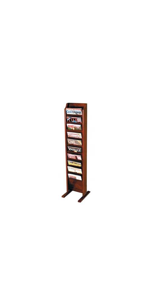 Ten-Pocket Magazine Rack w Integrated Floor Stand (Medium Oak) by Wooden Mallet