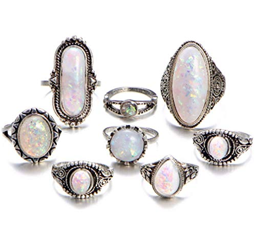 CHASIROMA Knuckle Ring Set Natural Gemstone Opal Diamond Rings Engagement Jewelry Vintage Ring for Wedding Gifts Charms Findings 8pcs/Set