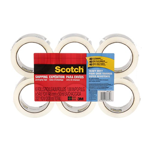: Scotch Heavy Duty Shipping Packaging Tape, 1.88 Inches x 54.6 Yards, 6-Rolls (3850-6)