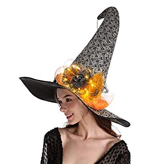 QinYing Yellow Glittered Halloween Costume Witch Hat Curved Top with Lights with Yellow Glittered Spider Witch Headwear for Halloween Dress Party Carnivals Cosplays Festival Decoration