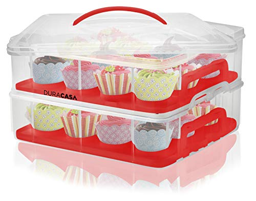 DuraCasa Cupcake Carrier, Cupcake Holder - Store up to 24 Cupcakes or 2 Large Cakes | Stacking Cupcake Storage Container | Cupcake, Cookie, or Cake Dessert Carrier (Red) by DuraCasa